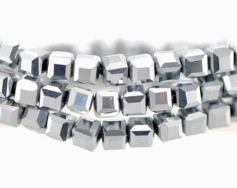 Cube Crystal Glass Faceted beads 6mm Silver - FZ0638/ 95pcs