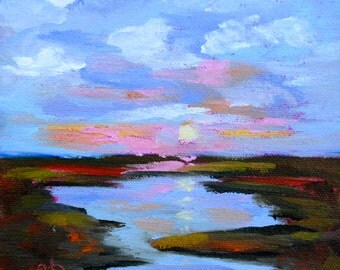 Fine Art Original Mini 6 x 6 Oil Painting Impressionist Marsh Landscape by Rebecca Croft Landscape