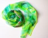 Green Silk scarf hand dyed on natural chiffon silks - flower dreams - 18x72