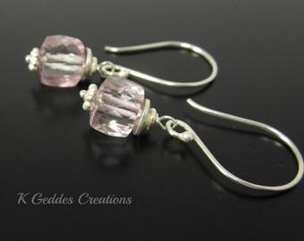 SALE! Pink Quartz Earrings Sterling Silver, Pink Gemstone Cube, Petite Pink Dangle Earrings Pink Drop