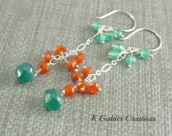 Green Onyx Earrings, Carnelian,Sterling Silver, Emerald Green Gemstone, Green Onyx Dangle, Gemstone Cluster Earrings