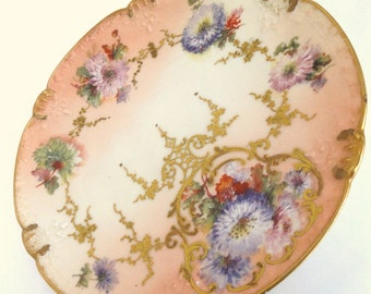 Limoges Porcelain Plate Raised Gilding Peachy Pink and Cream Color// Vintage China Plate//Vintage Serveware//Antique Collectible