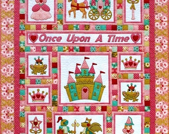 ONCE UPON A TIME Quilt Pattern ~ Adorable Appliqué & Pieced Quilt Sewing Pattern ~ Single/Twin Bed Size Quilt for any little Princess