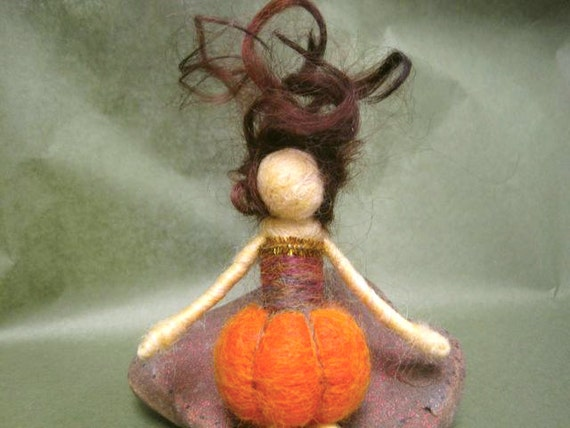 Needle Felted, Waldorf doll, Pumpkin Doll, Fall Nature Table, Harvest Decoration, toy, Original design by Borbala Arvai