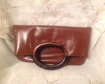 Vintage 80s JR Vinyl Clutch Brown Handbag Purse Preppy Chic Fashionable Classic Wear