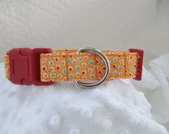 Orange Dots  Dog Collar Custom Made