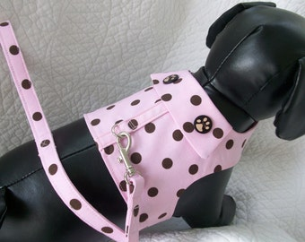 Pink Brown Polka Dot  Harness and Leash Set   Custom  Made for dog or cat