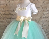 Mint green with ivory ribbon Flower Girl tutu.  Weddings, birthday, special occasion. Charcoal or silver grey ribbon available also.