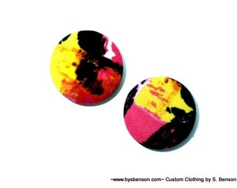 Fabric Covered  Button Earring - Deco pink yellow and black