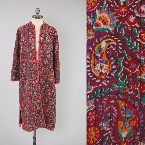 Vintage 60s Quilted Cotton INDIAN Batik Jacket / Perfect