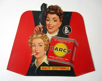 1950s French vintage advertising cardboard display⎮DARCY cigarettes⎮pin up⎮red black⎮French chic mid century modern retro