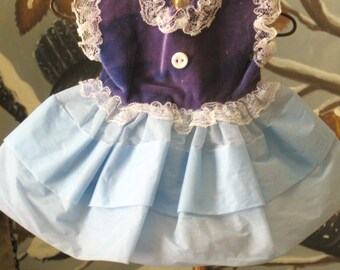 Doll Dress , Doll Party Dress , Doll Clothes , Dress , Party Dress , Blue Doll Dress , Blue Dress , Doll Clothing , Velvet and Organza