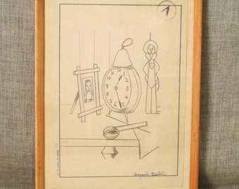 Drawing , Still Life , Art , Fine Art , Bird , Spain , Spanish , Student Art , Lesson Drawing , Clock , Antique Drawing , Vintage Art