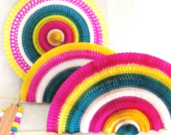 Accordion Paper Fan, Party Decor, Set of 4, Colorful Party Supplies, Folding Fan, Decorations, Folding, Collapsible