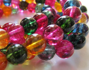 Quartz Beads 8mm Sparkling Multicolored Smooth Rounds- 8 inch Strand