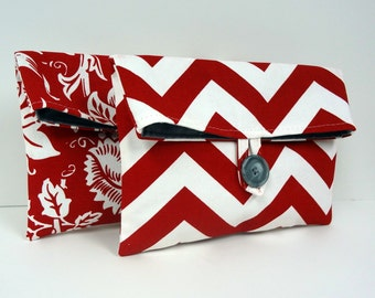 Gray and Red Makeup Bags Cosmetic Bags Set of 2 Red Chevron and Floral - READY TO SHIP