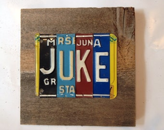 JUKE joint license plate sign tomboyART art recycled upcycled pig BBQ Mississippi blues
