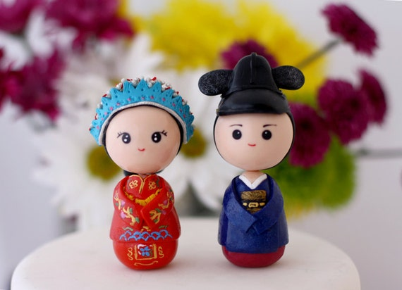 Items Similar To Chinese Bride And Korean Groom Wedding Cake Topper Kokeshi Figurines On Etsy