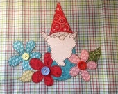 Garden Gnome Applique PDF Pattern for Tea Towel
