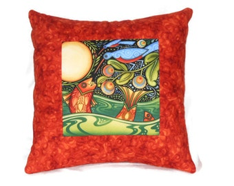 Quilted Pillow Cover -- Folk Art Fish and Blue Birds in the Moonlight with Rust Borders