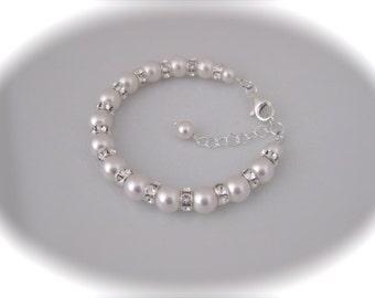 Wedding jewelry Bridal Bracelet Wedding Jewelry pearl and rhinestone bracelet