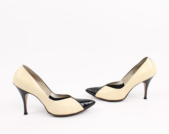 Vintage 50s Heels Pumps Stilettos 6.5 Black Cream Leather Rockabilly Pinup Pointy Toes 1950s Ladies Shoes