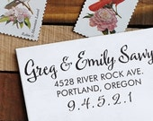 Classic Return Address Stamp, Personalized Address Stamp, Calligraphy Stamp - Self Inking  - wedding stamp - housewarming gift - Sawyer