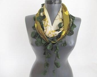 Chiffon scarf // Green scarf //  Lace Scarf // Woman scarf // Fashion scarf
