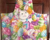 Adult Glitter Easter Bunny Lined Apron - One Size Fits Most
