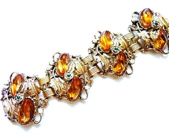 Vintage Designer Gold Bracelet with  Amber Colored and Emerald Green Rhinestones with Imitation Pearls - 7 Inches c. 1960s