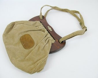 Vintage FS Originals Brown and Tan Corduroy and Wood Handbag