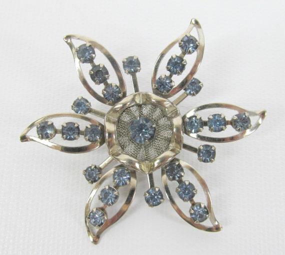 Vintage Light Blue Sapphire Rhinestone Starburst Brooch