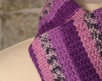 Knitted scarf. Purple, Lilac & Pink. Neckwarmer. Handmade by T. Catana. Ready to Ship!