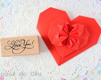 Love You Stamp - Wooden rubber -- 1 unit - Ready to Ship