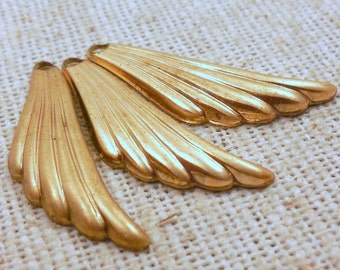 Vintage Solid Brass Small Wing Drops (10) Boho,Tribal, Minimalist