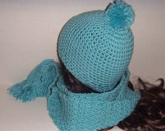 Ice Blue Crochet Scarf and Beanie Hat, Pom Pom Crochet Hat, Blue Set, Womans Accessories, Winter Accessories