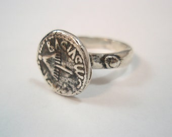 Hashmonai israel coin replica old coin Silver Sterling 925 Ring