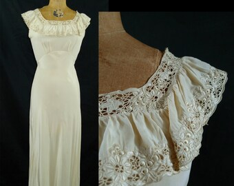 Vintage Ivory Wedding Dress// Vintage Cream Party Dress// Bias Cut Dress// Hollywood Glamour