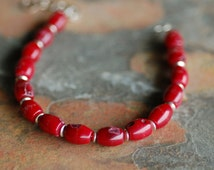 Red Coral and Silver Discs Bracelet