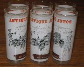 Vintage Set 6 Antique Automobile Autocar Swimsuit Man Beach Tumblers Water Glasses