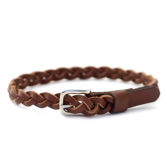 baby and toddler leather braided belt brown