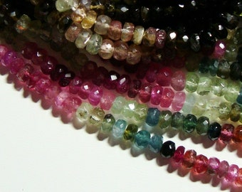 15% OFF, Full Strand, 4.5-5mm, Gorgeous Sparkling Watermelon Tourmaline Faceted Rondelles, Green, Pink, Blue, Black, Gold