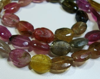 Beautiful Watermelon Tourmaline Faceted Oval Beads, 1/2 strand, 8-9mm