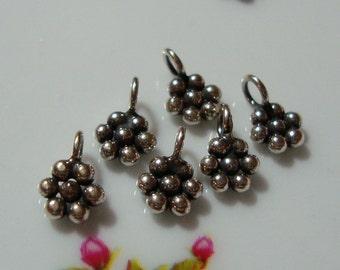 6 pcs, 9x6 mm, Bali Artisan, Oxidized 925 Sterling Silver Pretty Little Daisy Charm, Earrings, Pendant,PC-0146