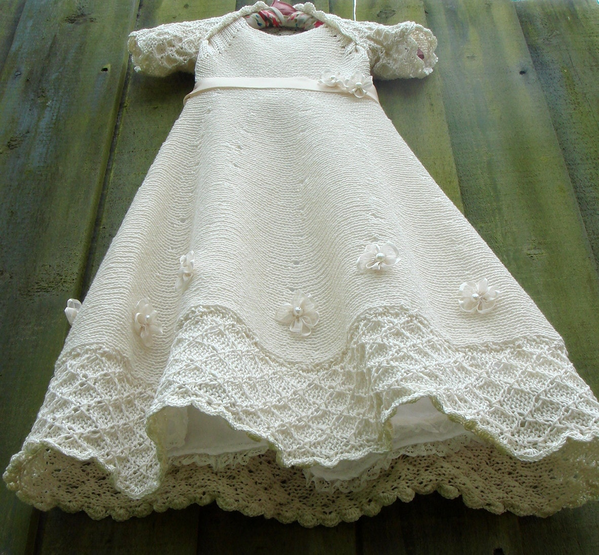 Knitted Cream Cotton baby Dress Christening Baptism