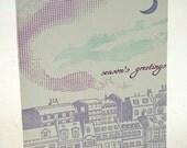 Letterpress Christmas Holiday Card - Aurora Borealis
