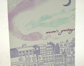 SALE - Letterpress Christmas Holiday Card - Aurora Borealis - 60% off