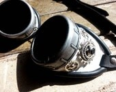 White Decorated Leather Steampunk Goggles.