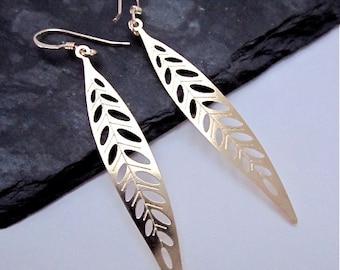 Gold Leaf Dangle Earrings -- Long Leaf Earrings -- Thin Gold Earrings -- Long Leaf Dangles -- Metal Leaf Earrings