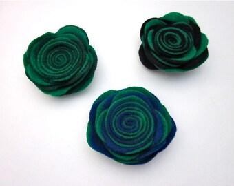 Green Fabric Pin -- Green Black Blue Pin -- Dark Fabric Flower -- Green & Blue Felt Pin -- Dark Green Flower Clip -- Two Tone Green Pin